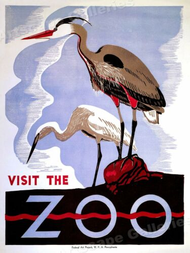 1936 Visit the Zoo 24x32 Classic WPA Art Poster Storks