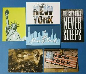 Collection-of-6-New-Glossy-New-York-City-NYC-USA-Postcards-by-Cavalier-BW9