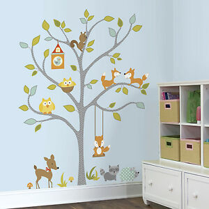 woodland fox owls giant wall decals forest animals stickers baby