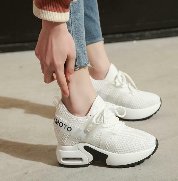 Ladies Platform High Wedge Sneakers Sport Casual shoes shoes shoes Lace Up Hollow Out shoes dcffab
