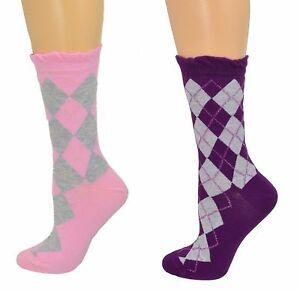 Sierra-Socks-Cotton-Lurex-Sparkle-Argyle-Casual-Women-039-s-2-Pair-Pack-Socks-W3035U