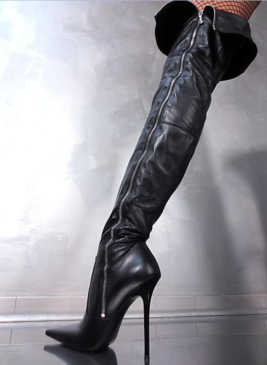 13cm Donna Leather Super Sexy Over Knee Boots Stiletto High Heel Zipper Ske15