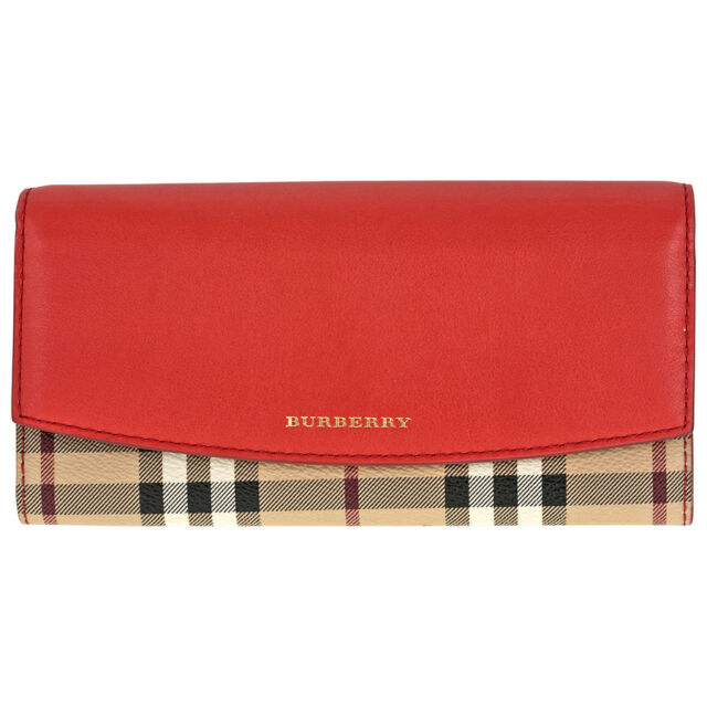 Burberry Porter Haymarket Check and Coral Red Leather Continental Wallet 3962150
