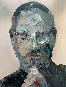 Abstract Portrait Steve Jobs Apple Iphone Impasto Portrait Art Original Painting
