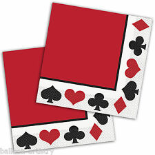 16 clásicos de casino Naipes Poker Noche Fiesta 33cm papel almuerzo Servilletas
