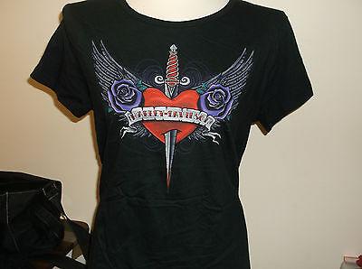 "Harley-davidson women's ""love hurts"" short sleeve shirt black missy tee"