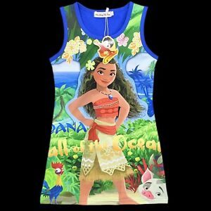 Girl-039-s-Moana-Princess-fancy-party-dress-Size-3-to-10-years-Soft-Stretchy-Cotton