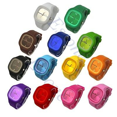 Square Jelly Silicone Quartz Wrist Candy Watch Colorful Casual Sports UnisexGift