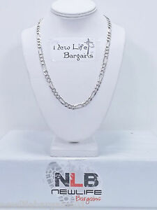 925-Sterling-Silver-22-034-Figaro-Link-Necklace-6-7-mm-34-95-Grams