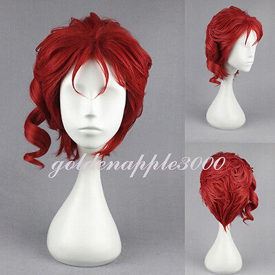 Red  JoJo's Bizarre Adventure Noriaki Kakyoin Cosplay Wig Party Wigs