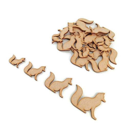 Sitting Fox  MDF Craft Shapes Wooden Blank Decoration Embellishments Wild Forest