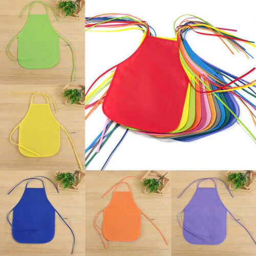 Kids Non-Woven Painting Aprons Child Activities Fashion Bib Solid Color