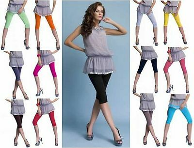 2-er Set Risparmio Donna 3/4 Capri Leggings Pantaloni Corti Opaco Cotone S-3xl-mostra Il Titolo Originale
