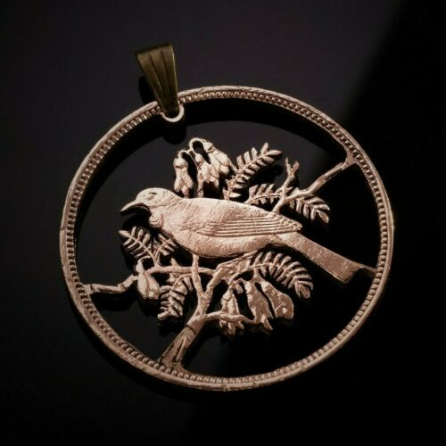 New Zealand 1 penny cut coin pendant with necklace Tui bird Hand cut.