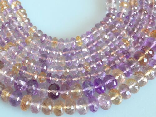 3x6 /& 6x8-9mm Faceted Roundel Ametrine Stone Beads HalfStrand NaturalColor #2078