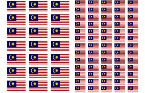 Malaysia Flag Stickers rectangular 21 or 65 per sheet