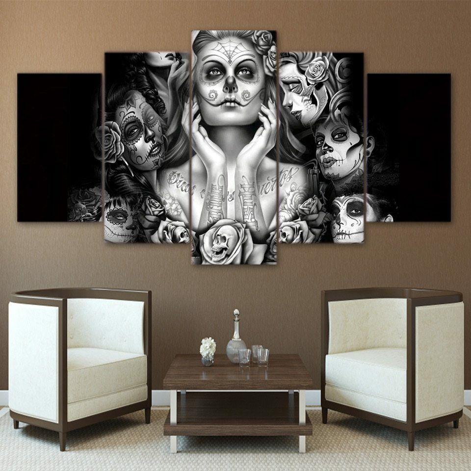 Day of the Dead Face 5 piece Canvas HD Druckened Kunst Painting Sugar