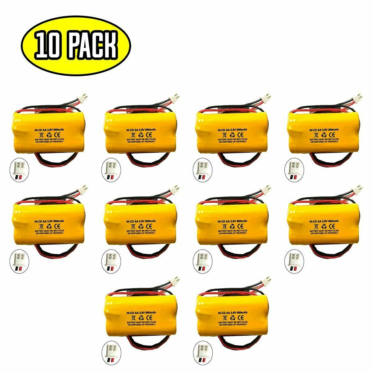 (10 pack) 3.6v 900mAh Ni-CD Battery Pack Replacement for Emergency / Exit Light