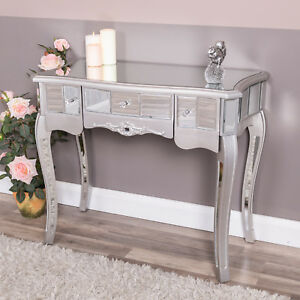 huge selection of 1acbe 22b7c Details about Silver Mirrored Dressing Table with Drawers Venetian Glass  Bedroom Hallway Chic