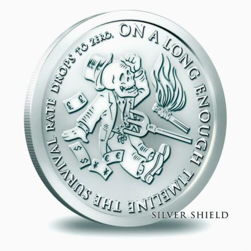 2014 Silver Shield Bankster Series The End Of The Line 1 oz .999 Silver BU Round