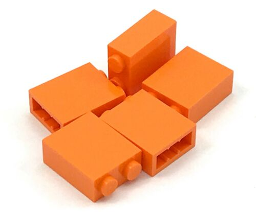 Lego 5 New Orange Bricks 1 x 2 x 2 Inside Stud Holder Pieces