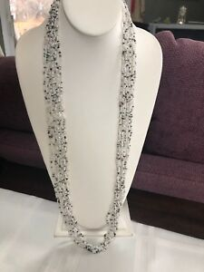 Vintage Bohemian White Black Bronze Multi Strand Beaded Sweater Necklace 34""
