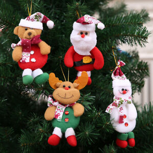 Christmas Bell Tree Decorations Elk Snowman Santa Claus Ornaments Xmas Baubles