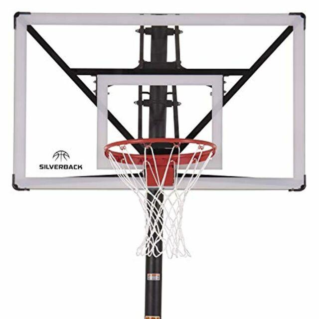 "Triple Threat In-ground Adjustable Basketball Goal Hoop with 54/"" Glass Backboard"