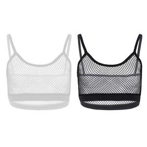 Mujeres-Sexy-Mesh-Crop-Top-Camisa-Blusa-Top-corto-sin-mangas-Bralette-Transparente