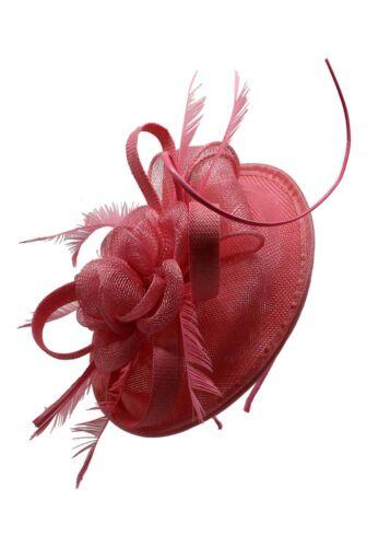 Women /& Ladies Wedding Hat Sinamay Fascinator Royal Ascot Races Headband Clip UK