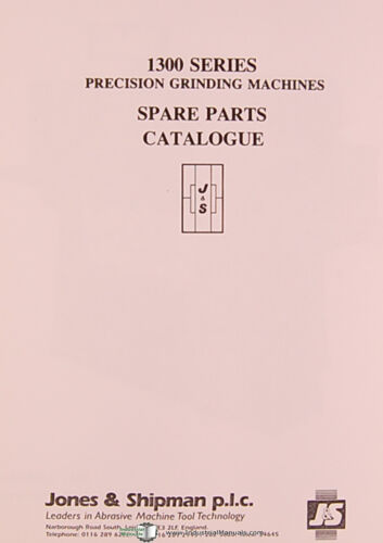 Jones /& Lamson 1300 Series Grinder Parts Lists and Drawings Manual