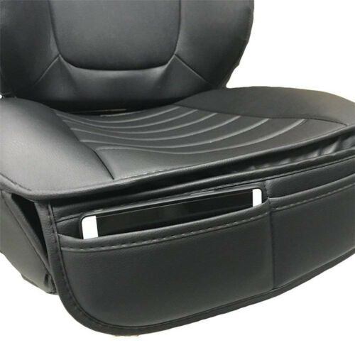 2x Universal Black PU Leather Car Seat Cover Driver Front Cushion w// Storage Bag