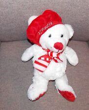 "Candy Cane Polar Bear Stuffed Plush White Red Christmas Floppy Hat Scarf 18"""