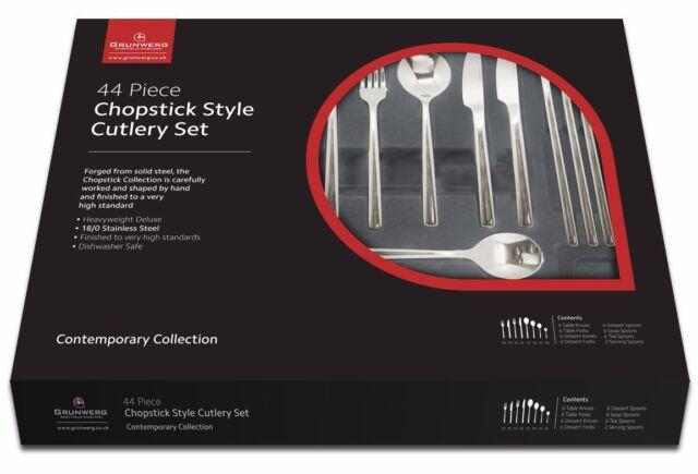 Grunwerg Chopstick Style 44 Piece Cutlery Set Knives Forks Spoons Tea 44BXCHP