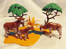 Playmobil Okapi Family, Baby (Germany) w River Landscape for Safari, Zoo Animals