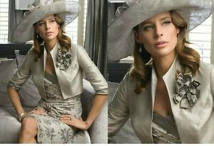 John-Charles-25463-Taupe-silk-Midi-Wedding-Occasion-Dress-And-Jacket-UK-10-38