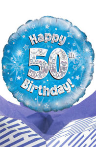 Image Is Loading 50th Birthday Blue Balloon In A Box Gift