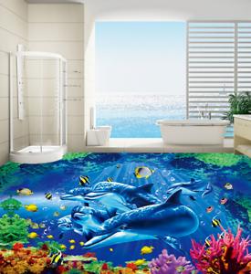 Luz de los delfines de 3D 63 Impresión De Parojo Papel Pintado Mural de piso 5D AJ Wallpaper Reino Unido Limón