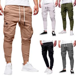 Nouveau-Homme-slim-fit-Urban-Pantalon-coupe-droite-Casual-crayon-Jogger-Pantalon-Cargo