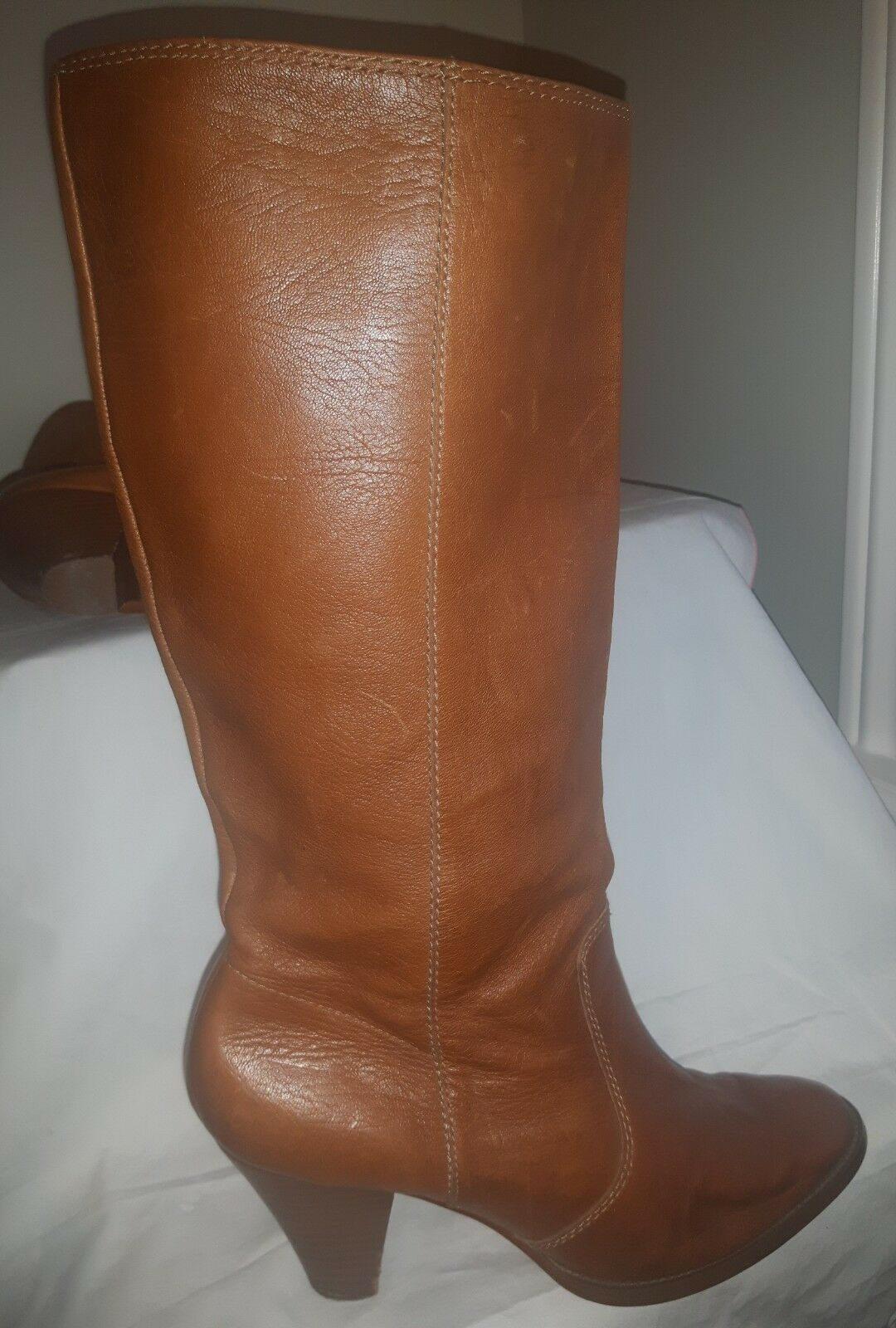 RETRO ALFANI PORTER tall leather Stiefel soft carmel leather ladies Größe 9.5