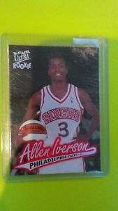 Details About 1996 Fleer Ultra 82 Allen Iverson Rookie Card Rc Sixers Georgetown