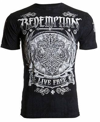 Archaic AFFLICTION Mens T-Shirt SHIELDED Redemption Tattoo Biker UFC M-4XL $40 a