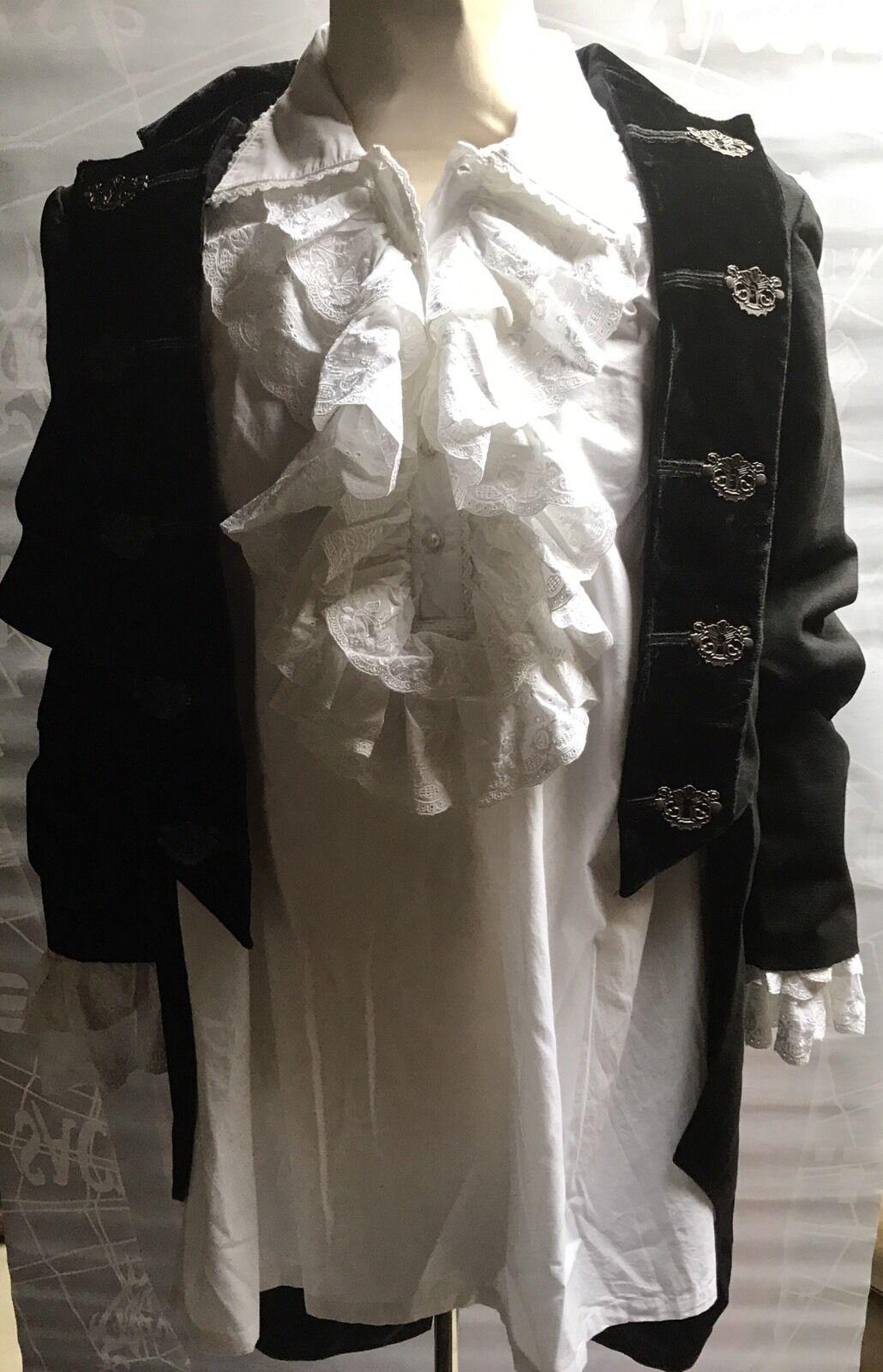 Raven Steampunk Gotico Nero Nero Nero Frac cotone pesante e biancasatin Pirata Camicia L a05c01