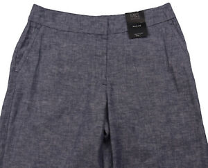 New-Womens-Marks-amp-Spencer-Blue-Linen-Wide-Leg-Trousers-Size-22-18-14