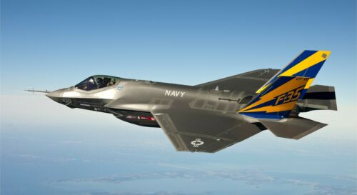 """F-35 LIGHTNING II MILITARY FIGHTER JET 24/"""" x 43/""""  LARGE WALL POSTER PRINT."""