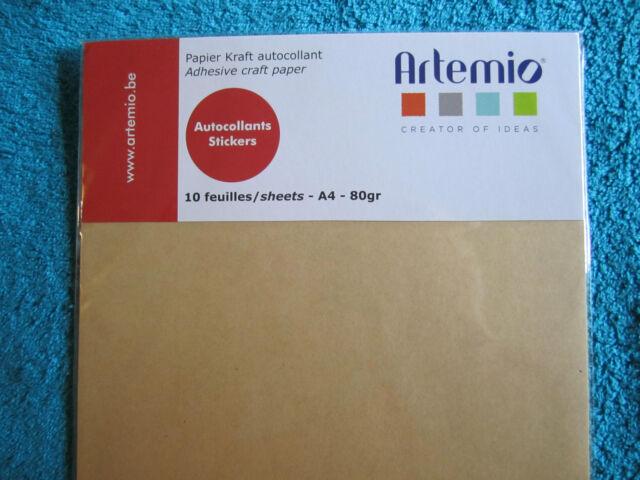 """10 feuilles papier Kraft  autocollant  """" Artémio """"  (CS/035)  + 10 gratuites"""