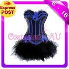 Burlesque Boned Moulin Rouge Corset Dress Up Costume Showgirl Bustier Tutu Skirt