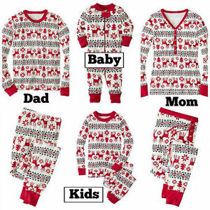 Family Matching Christmas Pajamas PJs Sets Xmas Sleepwear ...