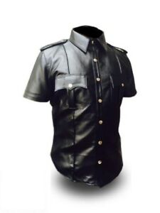 Mens-Black-Sheep-or-Cow-Leather-Police-Real-Uniform-Shirt-BLUF-Gay-Mens-Shirt