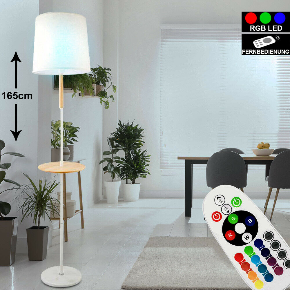 RGB LED Steh Leuchte Dimmer Decken Fluter Marmor Stoff Stand Lampe Fernbedienung